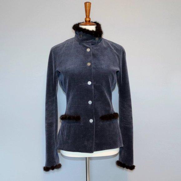 CHANEL Blazer Size 40 Navy Corduroy Mink Fur Trim